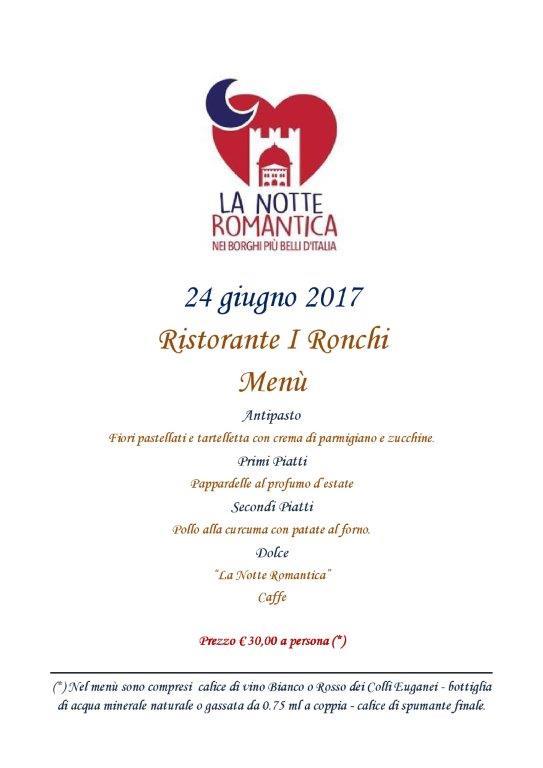 Menu Notte Romantica ristorante I Ronchi Arquà Petrarca